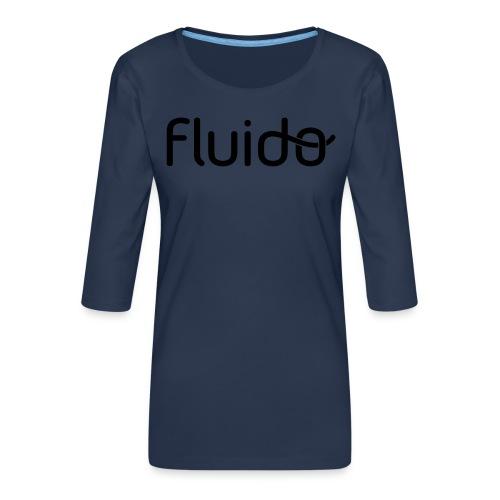 fluidologo_musta - Naisten premium 3/4-hihainen paita