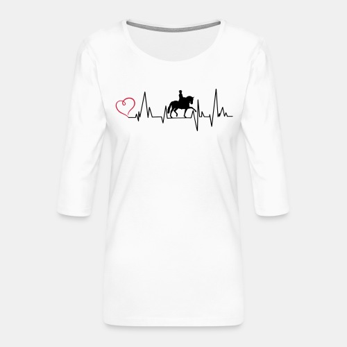 Heartbeat Dressurreiterin klassisch Herz - Frauen Premium 3/4-Arm Shirt