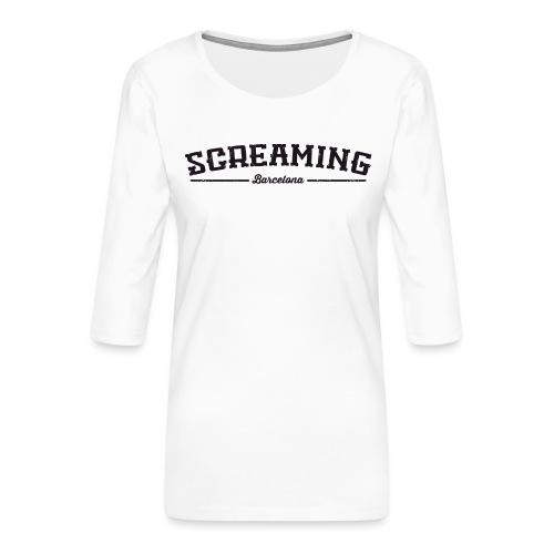SCREAMING GIRL - Camiseta premium de manga 3/4 para mujer