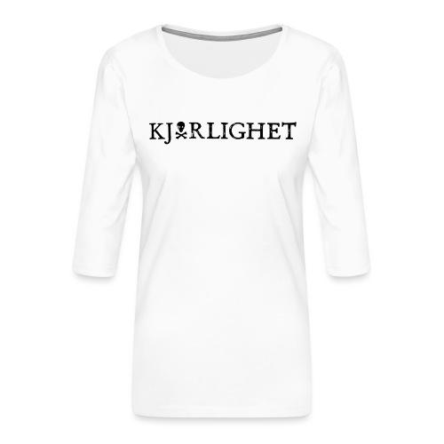 Kjærlighet (Love) | Black Text - Women's Premium 3/4-Sleeve T-Shirt