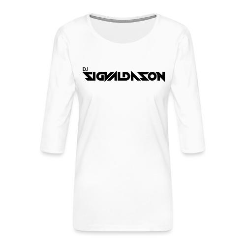 DJ logo sort - Dame Premium shirt med 3/4-ærmer