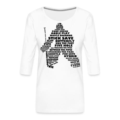 Hockey Goalie Word Art Typography - Women's Premium 3/4-Sleeve T-Shirt