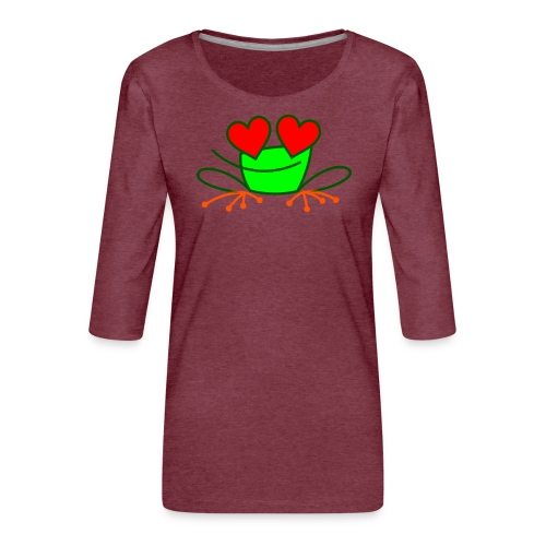 Frog in Love - Women's Premium 3/4-Sleeve T-Shirt