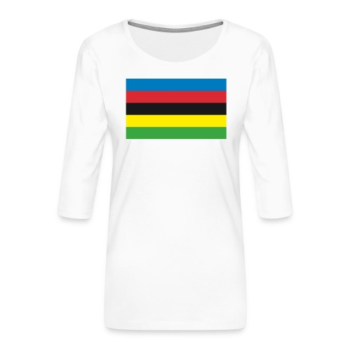 Cycling_World_Champion_Rainbow_Stripes-png - Vrouwen premium shirt 3/4-mouw