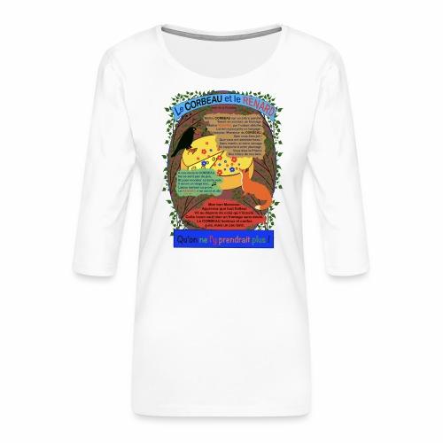 Le Corbeau et le Renard (Jean de la Fontaine) - T-shirt Premium manches 3/4 Femme