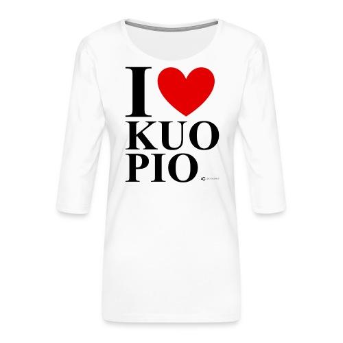 I LOVE KUOPIO ORIGINAL (musta) - Naisten premium 3/4-hihainen paita