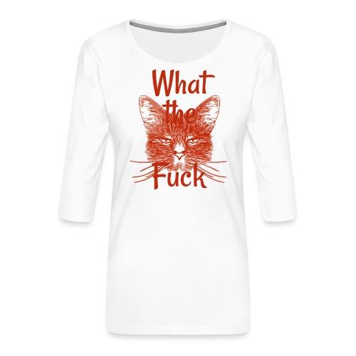 Katze mürrisch - Frauen Premium 3/4-Arm Shirt