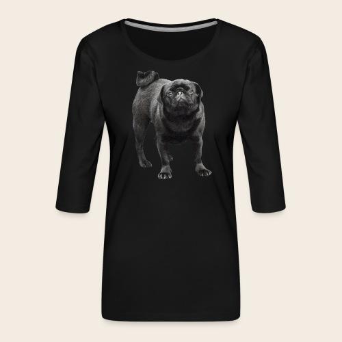 schwarzer Mops - Frauen Premium 3/4-Arm Shirt