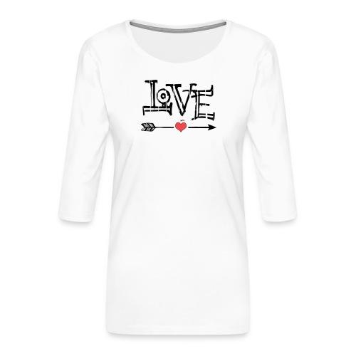 Love flêche - T-shirt Premium manches 3/4 Femme