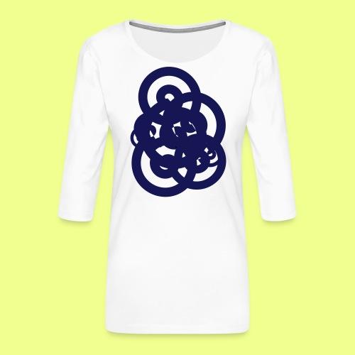 espirales azul - Camiseta premium de manga 3/4 para mujer