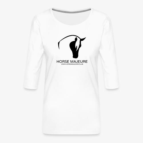 Horse Majeure Logo / Musta - Naisten premium 3/4-hihainen paita