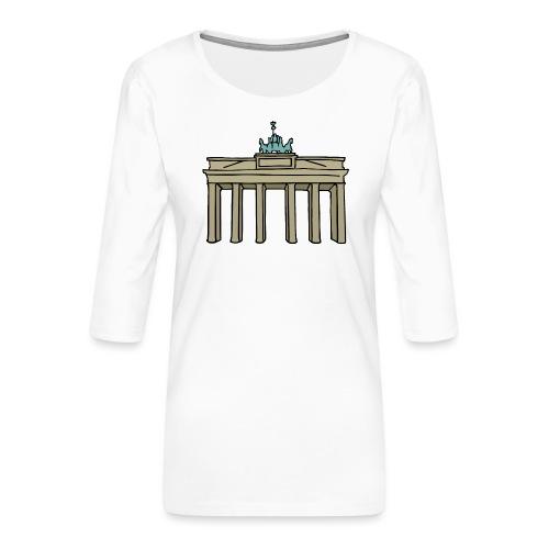 Brama Brandenburska BERLIN c - Koszulka damska Premium z rękawem 3/4