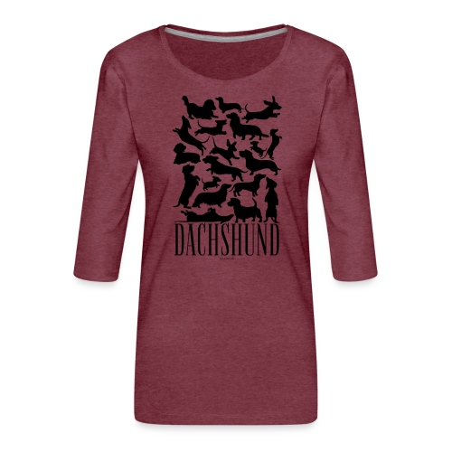 Dachshund Black - Naisten premium 3/4-hihainen paita