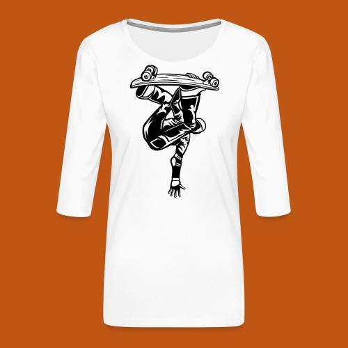Skater / Skateboarder 03_schwarz - Frauen Premium 3/4-Arm Shirt
