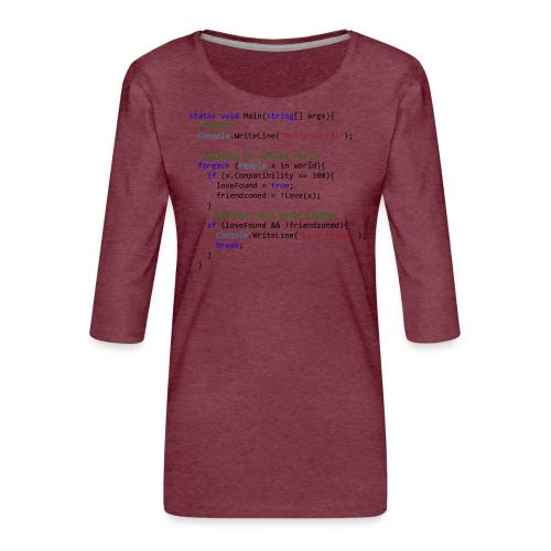 Love seen by a C# programmer - Maglietta da donna premium con manica a 3/4