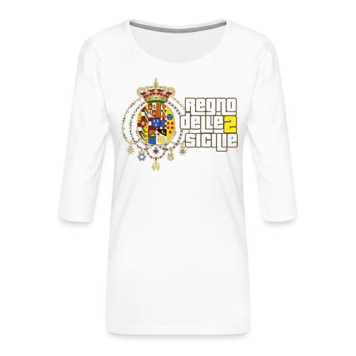regno delle 2 sicilie testo bianco - Maglietta da donna premium con manica a 3/4