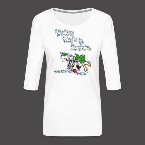 Wicked Washing Machine Cartoon and Logo - Vrouwen premium shirt 3/4-mouw