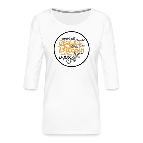 Bitcoin Tag Cloud - Women's Premium 3/4-Sleeve T-Shirt