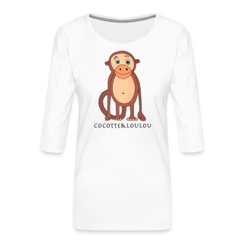 Bobo le singe - T-shirt Premium manches 3/4 Femme