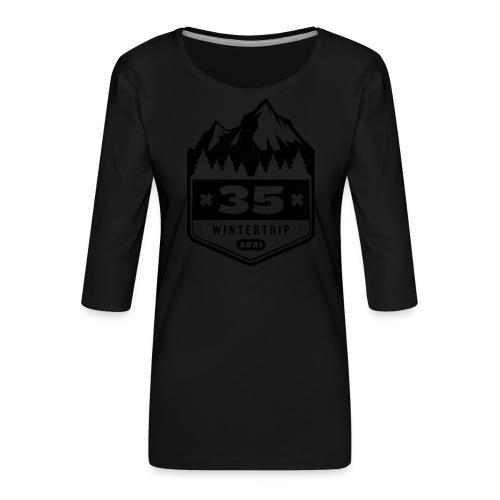 35 ✕ WINTERTRIP ✕ 2021 • BLACK - Vrouwen premium shirt 3/4-mouw