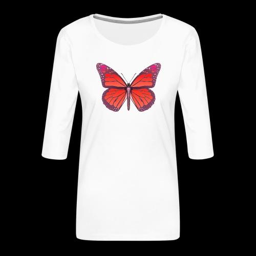 D28 monarch butterfly red lajarindream 4500px - Camiseta premium de manga 3/4 para mujer