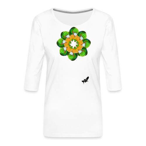 Parrot Pattern by BlackenedMoonArts, w. logo - Dame Premium shirt med 3/4-ærmer