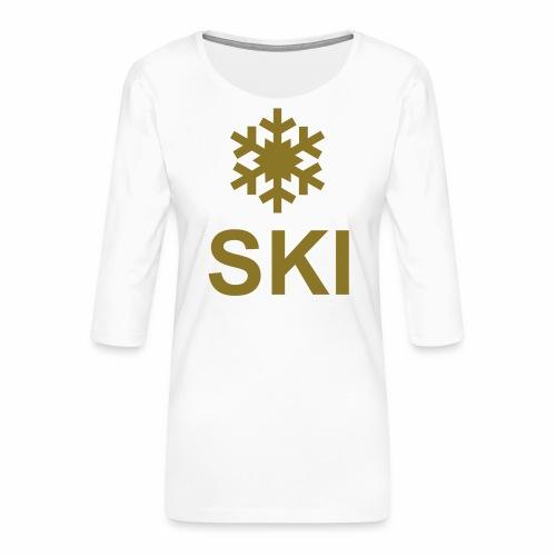 Flocon et ski - T-shirt Premium manches 3/4 Femme