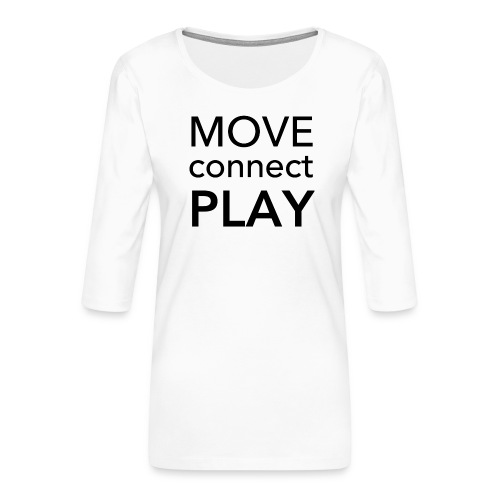 Move Connect Play - AcroYoga International - Women's Premium 3/4-Sleeve T-Shirt