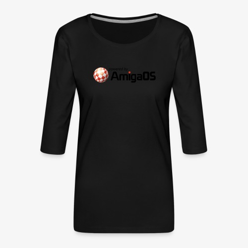 PoweredByAmigaOS Black - Women's Premium 3/4-Sleeve T-Shirt