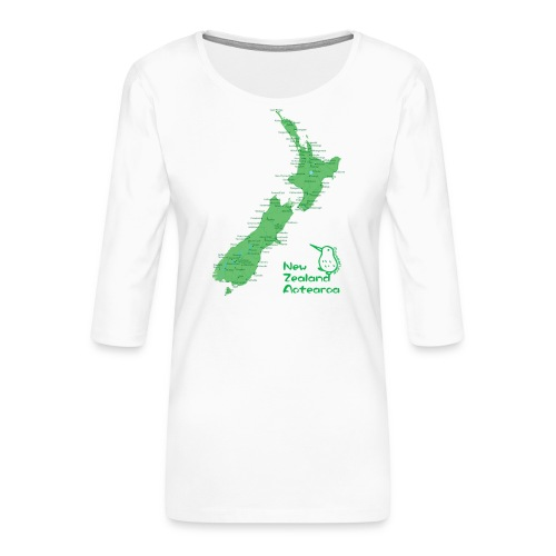 New Zealand's Map - Women's Premium 3/4-Sleeve T-Shirt