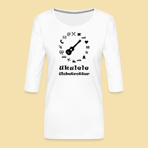 XL Menshirt: Globetrotter (Motiv: schwarz) - Frauen Premium 3/4-Arm Shirt
