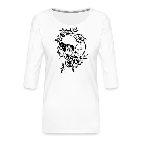 Skull and Flowers - Premium-T-shirt med 3/4-ärm dam