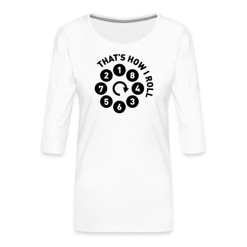v8firingroll01b - Premium T-skjorte med 3/4 erme for kvinner