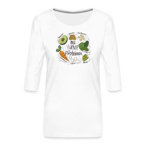 Mi fuente de proteinas - Camiseta premium de manga 3/4 para mujer