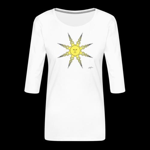 D22 Quiet Sun v1 Yellow - Camiseta premium de manga 3/4 para mujer