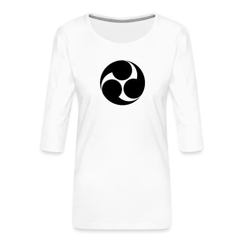 Kobayakawa Mon Japanese clan black - Women's Premium 3/4-Sleeve T-Shirt