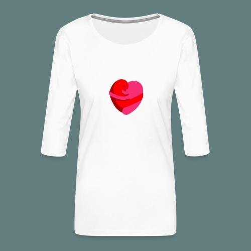 hearts hug - Maglietta da donna premium con manica a 3/4