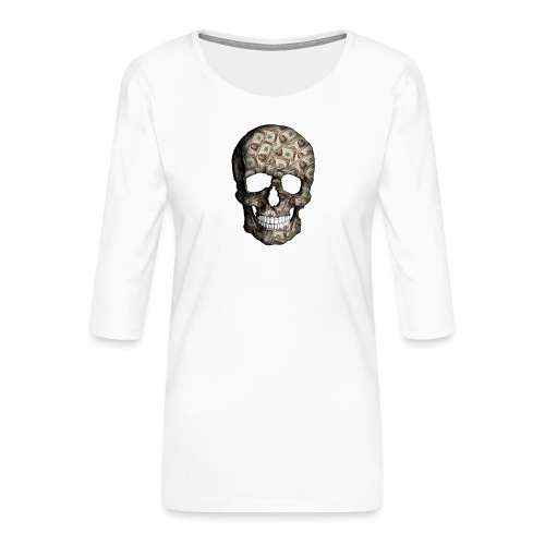 Skull Money - Camiseta premium de manga 3/4 para mujer