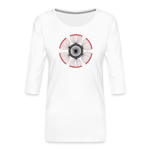 Red Poppy Seeds Mandala - Women's Premium 3/4-Sleeve T-Shirt
