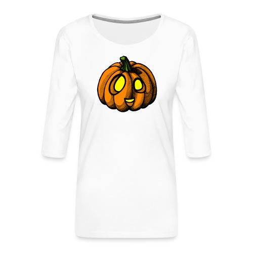 Pumpkin Halloween scribblesirii - Dame Premium shirt med 3/4-ærmer