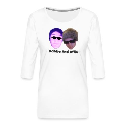 Dabbe And Affie Svart Text - Premium-T-shirt med 3/4-ärm dam