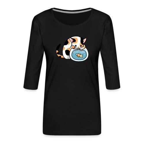 Katze mit Fisch im Glas - Frauen Premium 3/4-Arm Shirt