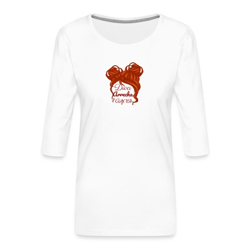 Diva - Camiseta premium de manga 3/4 para mujer