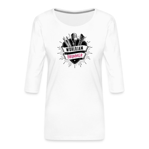WorldJam Drummer - Women's Premium 3/4-Sleeve T-Shirt
