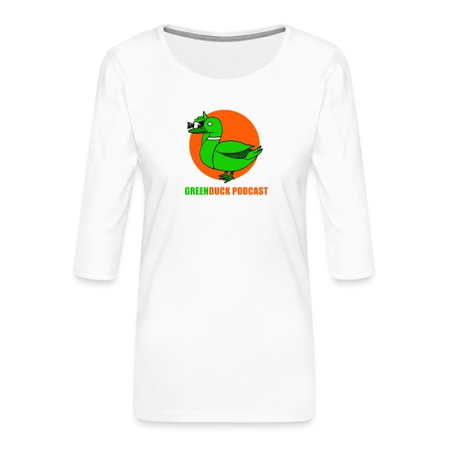 Greenduck Podcast Logo - Dame Premium shirt med 3/4-ærmer