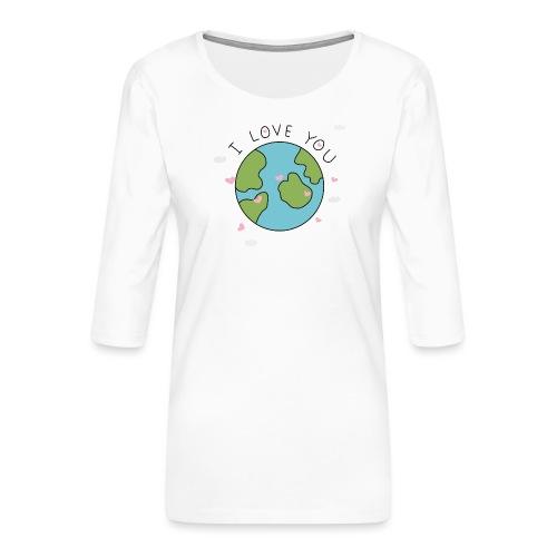 iloveyou - Maglietta da donna premium con manica a 3/4