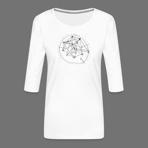 SEO strategia No.1 (musta) - Naisten premium 3/4-hihainen paita
