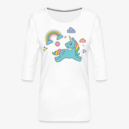 colored unicorn - Women's Premium 3/4-Sleeve T-Shirt