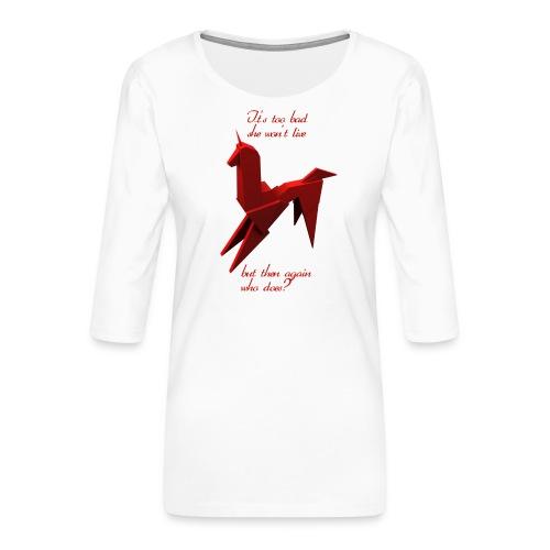 UnicornioBR2 - Camiseta premium de manga 3/4 para mujer