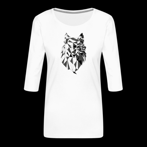Polygoon wolf - Vrouwen premium shirt 3/4-mouw